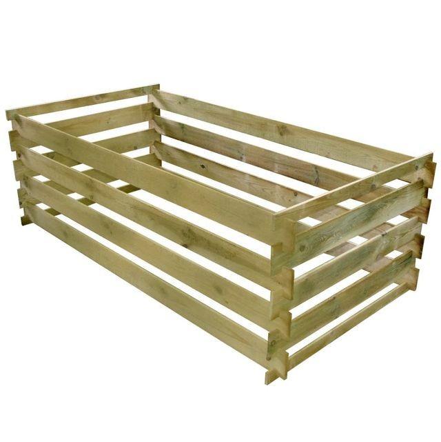Compostor cu stinghii, lemn de pin tratat, 160 x 80 x 58 cm foto mare