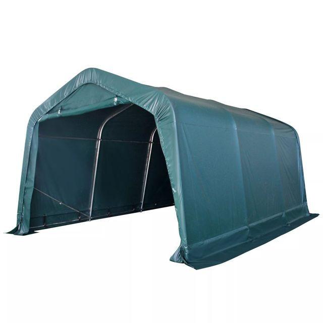 Cort portabil pentru animale PVC 3,3x4,8 m Verde închis foto mare
