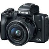 Aparat foto mirrorless EOS M50, 25.8 MP, 4K, Wi-Fi, Negru + Obiectiv EF-M 15- 45mm f/3.5-6.3 IS STM + Obiectiv EF-M 22mm f/2.0 STM, Canon