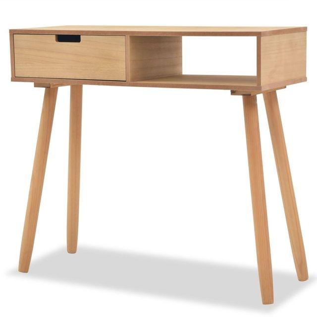 Masa consola, lemn masiv de pin 80x30x72 cm, maro foto mare