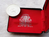 MONEDA argint CENTENAR 1975 CALGARY 1 DOLLAR CANADA 23,3 gr in CUTIE CANADA, America de Nord