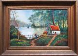 Cabana la malul lacului - semnat  G.Wolf