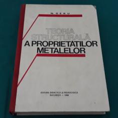TEORIA STRUCTURALĂ A PROPRIETĂȚILOR METALELOR/ N. GERU/ 1980