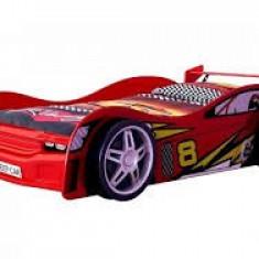 Pat masina Night Racer Car rosu roti 3D din lemn MDF glossy, Altele, 190X90cm
