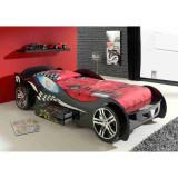 Pat Masina Silverston Race Car negru roti 3D si sertar din lemn MDF glossy