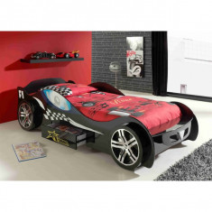 Pat Masina Silverston Race Car negru roti 3D si sertar din lemn MDF glossy, Altele, 190X90cm, Rosu