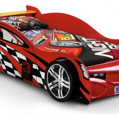 Pat masina Street Night Speeder Car rosu roti 3D din lemn MDF glossy, Altele, 190X90cm