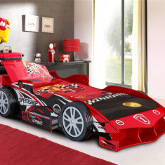 Pat masina F1 OnlyToys  Formula 1 rosu roti 3D Speed Car din lemn MDF glossy, Altele, 190X90cm