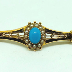 brosa aur 14k biedermeier an 1850 cu perle si piatra turkiz