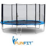 Trambulina FunFit pentru Copii, Diametru 183cm 6FT, Scarita Inclusa, Capacitate 90kg, Plasa Laterala cu Fermoar