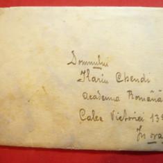 Plic francat cu pereche 10 Bani Carol I gravate ,adresata lui Ilarie Chendi la A