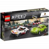 Set de constructie LEGO Speed Champions Porsche 911 RSR si 911 Turbo 3.0