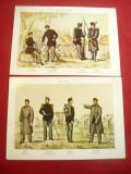 2 Ilustrate- Uniforme Militare Romanesti Militii si Sanitari- Ed.Meridiane Sibiu, Necirculata, Printata