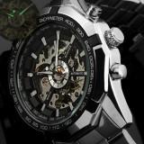 Ceas MILITAR SPORT DELUXE/FASHION WINNER FULL AUTOMATIC 2 Tachymetru Black Negru, Casual, Mecanic-Automatic, Inox