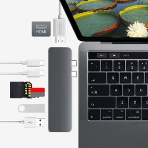 Adaptor HUB Dual USB 3.1 Type-C la HDMI SD/TF,USB 3.0,USB Type C for MacBook Pro