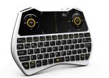 Mini tastatura rii i28c, wireless, iluminata, touchpad, pentru computer, smart tv culoare alb Digital Media, Fara fir