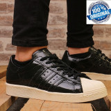 "Cumpara ieftin ADIDASI ORIGINALI 100% Adidas Superstar 80' Leather ""Black liquid"" Unisex nr 39"