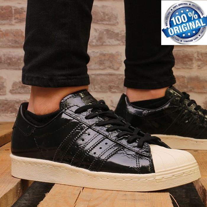 """ADIDASI ORIGINALI 100% Adidas Superstar 80' Leather """"Black liquid"""" Unisex nr 39"""