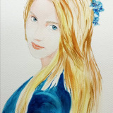 Pictura in acuarela - Hortensia in albastru, Scene gen, Realism