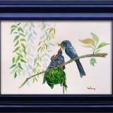 Pictura in acuarela - grija materna, Pasari, Realism