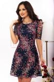 Rochie din dantela colorata cu imprimeu floral, Raspberry