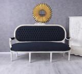 SOFA TREI LOCURI DIN LEMN MASIV ALB CU TAPITERIE DIN BLEUMARIN  CAT362K49, Sufragerii si mobilier salon