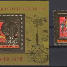 CENTRAL AFRICA 1986 JOCURILE OLIMPICE COTA MICHEL 50 EURO FOITA DE AUR
