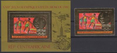 CENTRAL AFRICA 1986 JOCURILE OLIMPICE COTA MICHEL 50 EURO FOITA DE AUR foto