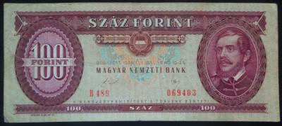 Bancnota 100 Forinti - UNGARIA COMUNISTA, anul 1989 *cod 729 foto