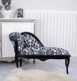 SOFA DIN LEMN MASIV NEGRU CU TAPITERIE ALBA CU FLORI NEGRE CAT508C10, Sufragerii si mobilier salon