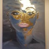 Tablou Acrilik, Foita aur 24 K. Unicat. 60 x 80 cm, Abstract, Acrilic