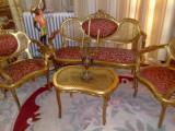 Salon/salonas rococo frantuzesc,canapea cu fotolii si masuta,vintage/antic, Sufragerii si mobilier salon, 1900 - 1949