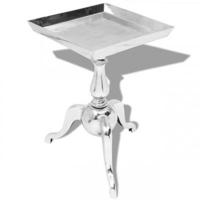 Masă laterală pătrată din aluminiu, argintiu foto