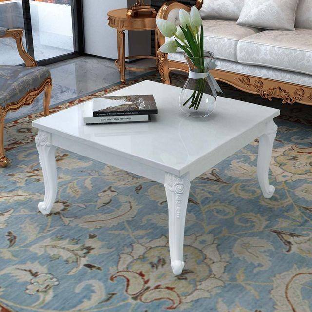 Măsuță de cafea lucioasă, 80 x 80 x 42 cm, alb