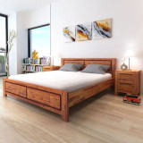 Cadru de pat din lemn masiv de acacia 180 x 200 cm, maro
