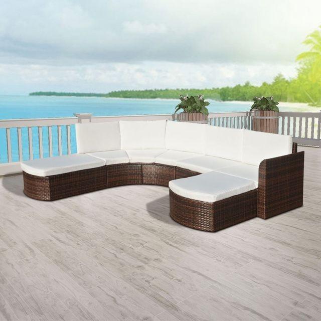 Set mobilier de grădină, 16 piese, poliratan, maro foto mare