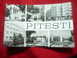 Ilustrata Pitesti cu 6 vederi -inc.anilor '60, Circulata, Fotografie