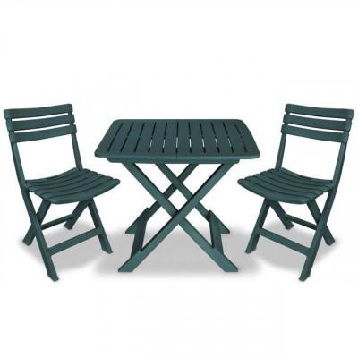 Set mobilier de grădină tip bistro, 3 piese, plastic verde foto