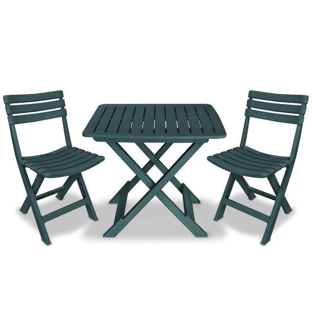 Set mobilier de grădină tip bistro, 3 piese, plastic verde