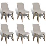 Set 6 scaune de interior din lemn de stejar și stofă, Gri deschis