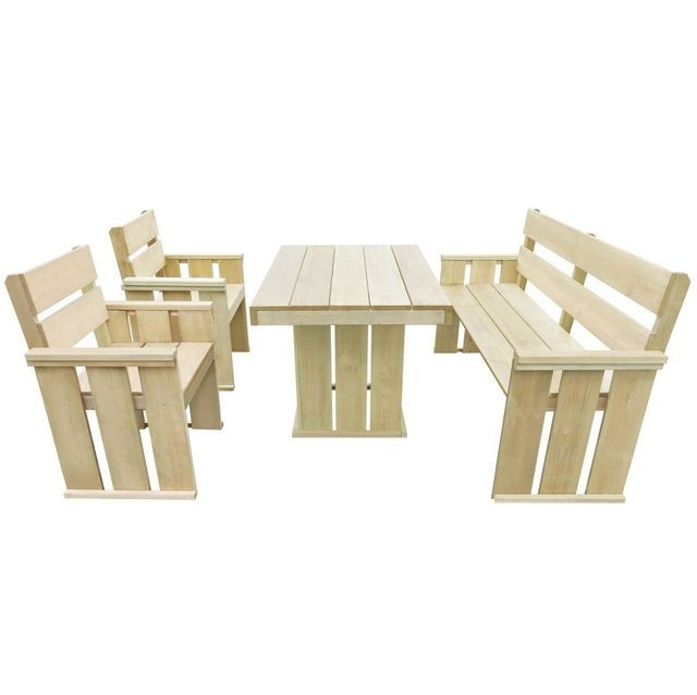 Set mobilier de exterior 4 piese, 110x75x74 cm, lemn pin tratat foto mare