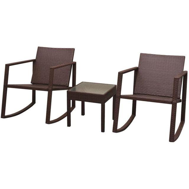 Set scaun balansoar cu masă, 3 piese, poliratan, maro