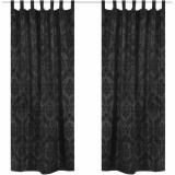 2 Draperii baroce din tafta cu bride 140 x 245 cm, negru