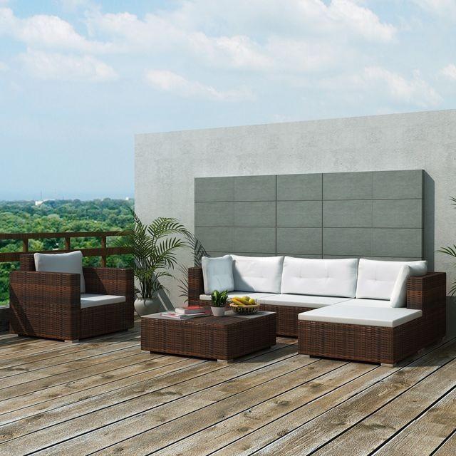 Set mobilier de grădină 17 piese, poliratan, maro