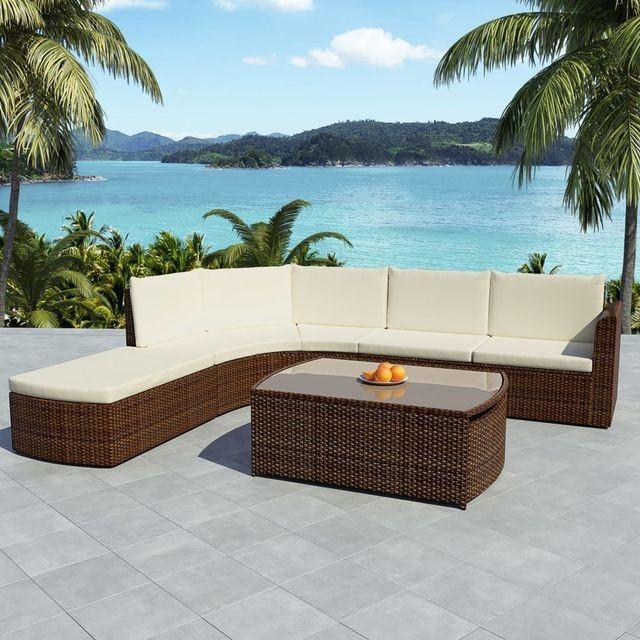 Set mobilier de grădină 15 piese, poliratan, maro foto mare