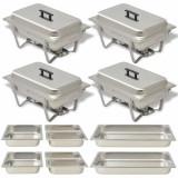 Set vase încălzire mâncare, oțel inoxidabil, 4 piese