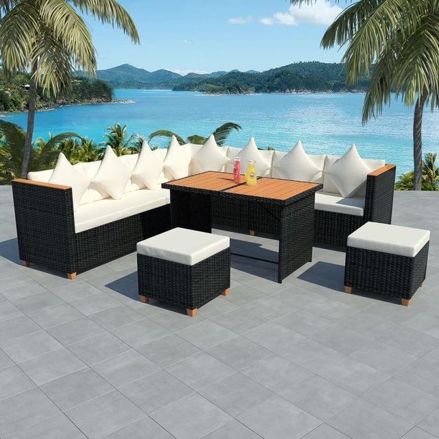 Set mobilier de exterior, 29 piese, poliratan, blat WPC, negru