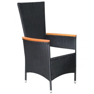 Set mobilier exterior 17 piese, poliratan și acacia, negru, XXL foto