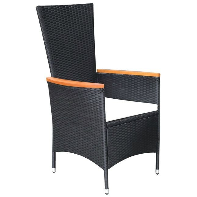 Set mobilier exterior 17 piese, poliratan și acacia, negru, XXL