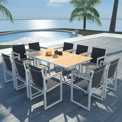 Set mobilier exterior 11 piese 165x100x72 cm, aluminiu WPC maro foto